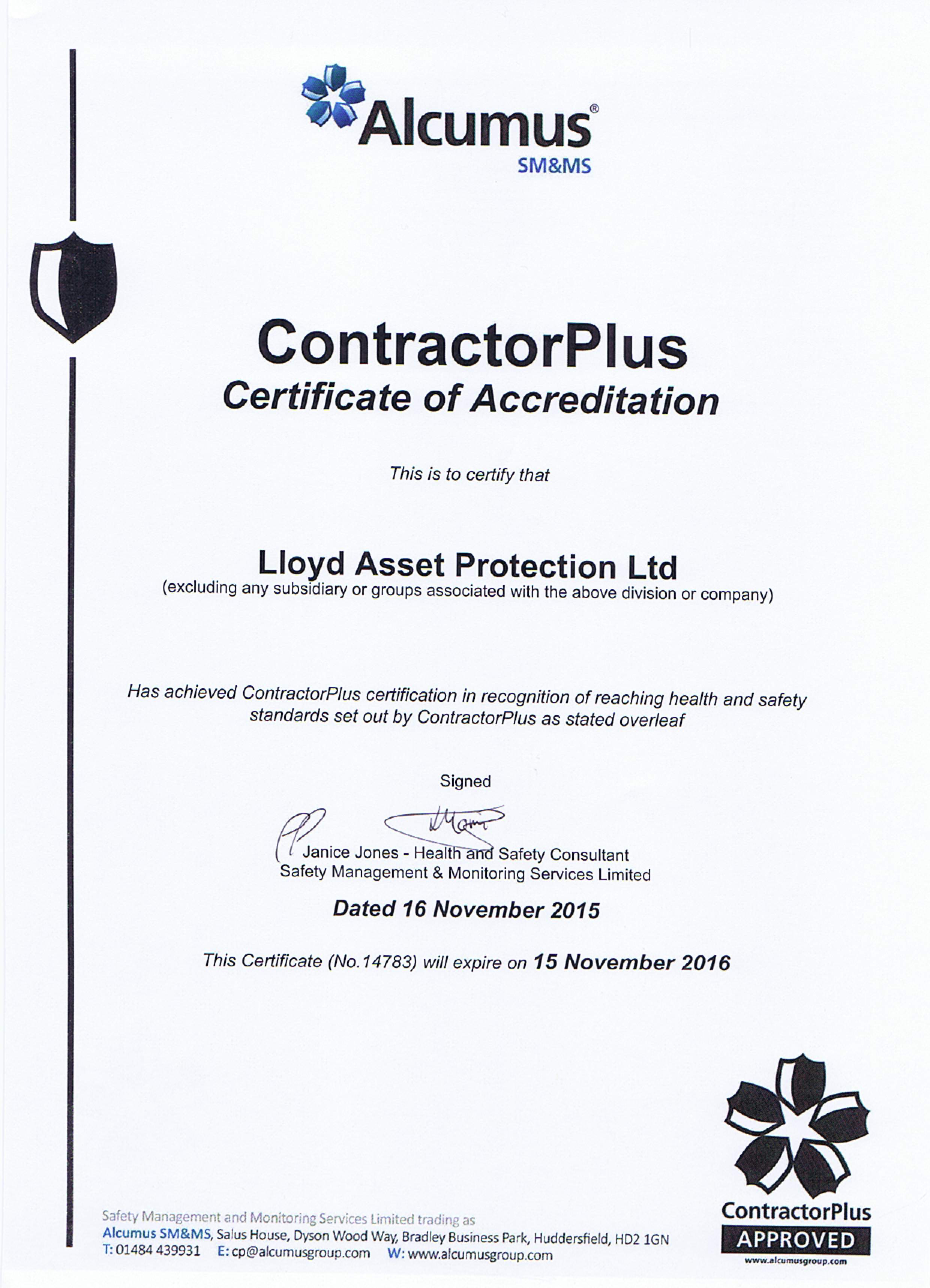 Accreditations contractor plus approved contractor database smms safety management monitoring 1betcityfo Gallery